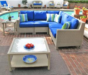 Outdoor Resin Wicker Modular Sectionals, Caribbean Driftwood