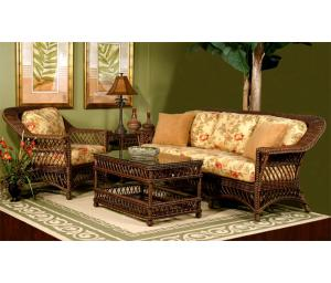Harbor Beach Rattan Framed Wicker Furniture Sets, White & Brown