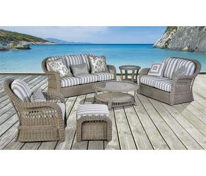 Basket Weave All Weather Resin Wicker Furniture Sets, Driftwood  Color