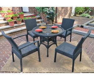 Resin Wicker Patio Dining Sets with Caribbean Chairs