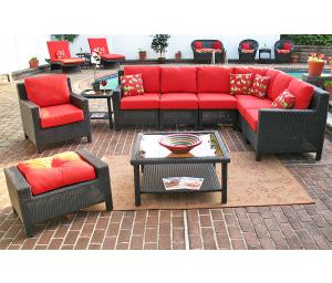 Outdoor Resin  Wicker Modular Sectionals, Caribbean Black