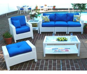 Outdoor Resin Wicker Modular Sectional, Caribbean White