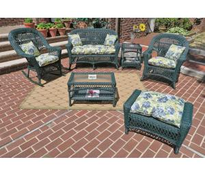 Hunter Green Madrid Outdoor Wicker Patio Sets