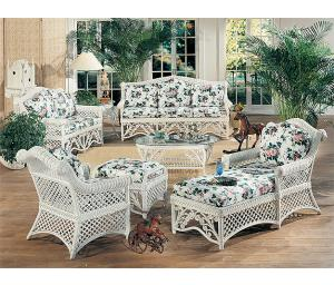 White Victorian  Rattan Framed Wicker Furniture Sets