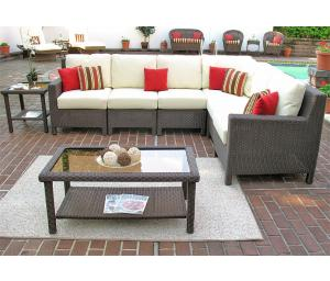 Outdoor Resin Wicker Modular Sectionals, Caribbean Coffee Brown