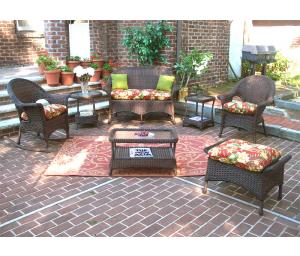 Antique Brown High Back Veranda Outdoor Wicker Patio Furniture