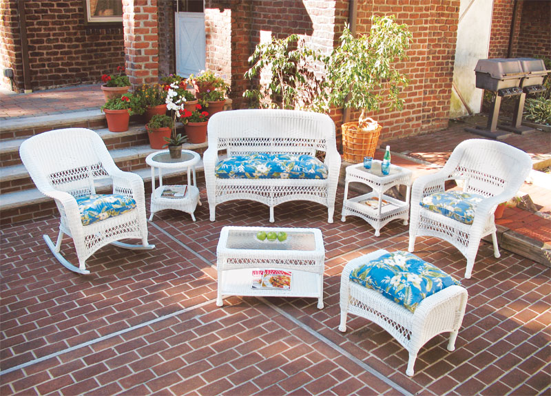 White Bel Aire Resin Wicker Patio Furniture