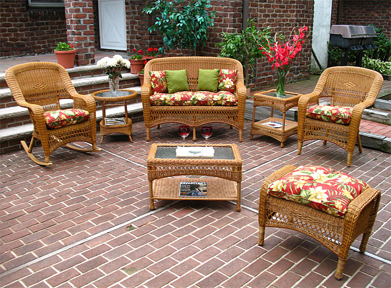 Wicker Golden Honey Bel Aire Outdoor Resin Wicker Patio Furniture