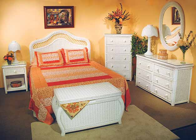 White Pavilion Wicker Bedroom Collection