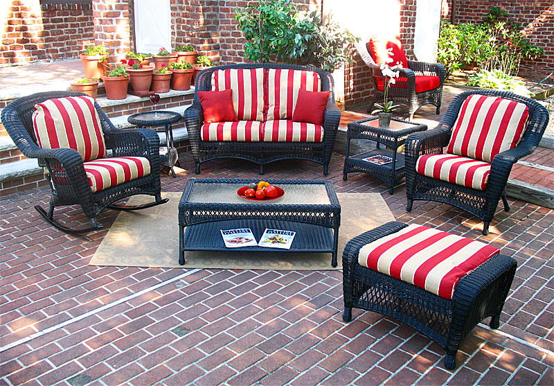Black Palm Springs Resin Wicker Furniture Sets