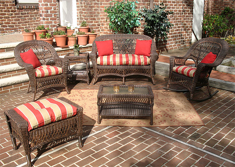 Wicker Rustic Brown Madrid Outdoor Wicker Patio Furniture