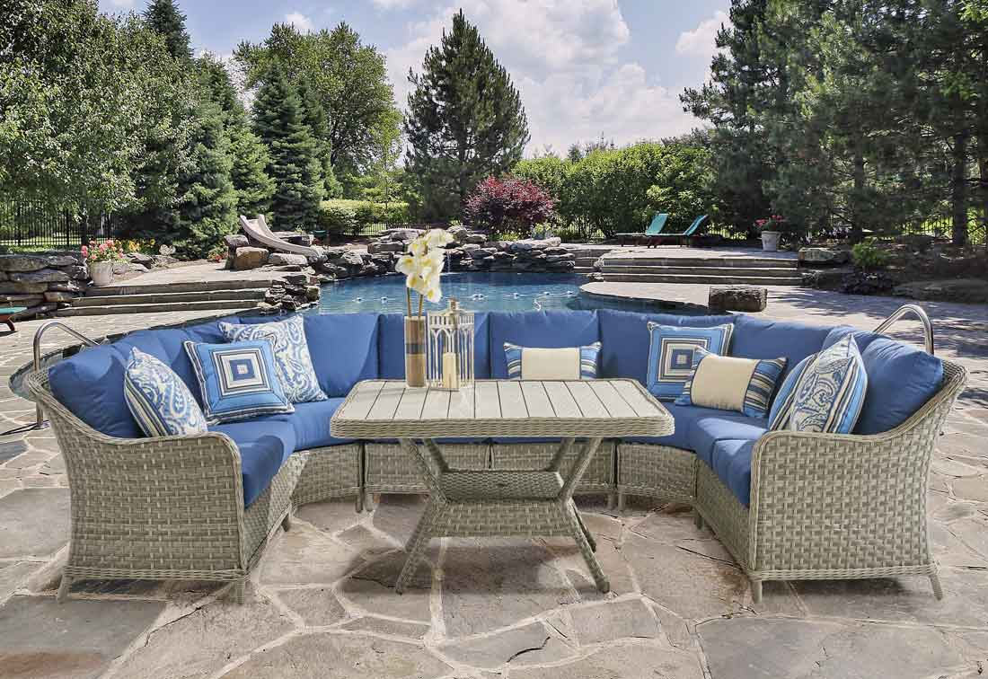 Countryside All Weather Resin Wicker Modular Sectionals, Pebble Stone Color