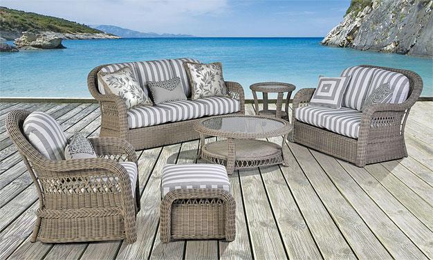 Basket Weave All Weather Resin Wicker Furniture Sets, Driftwood  Color