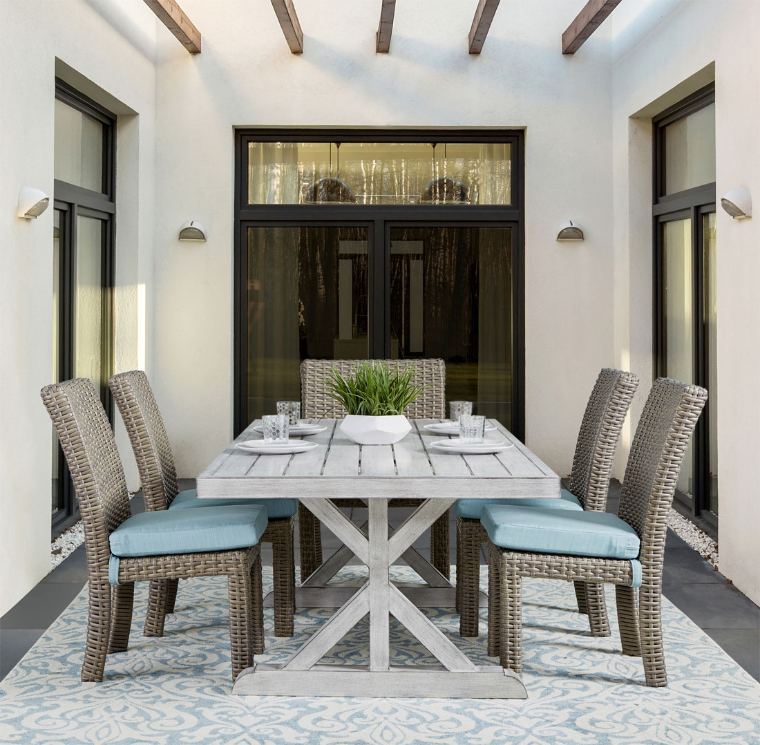 Aluminum Slat Top Dining with Resin Wicker Chairs