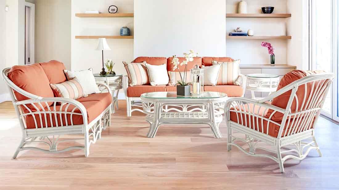 Wicker Tahiti Natural Rattan Furniture Sets, Whitewash