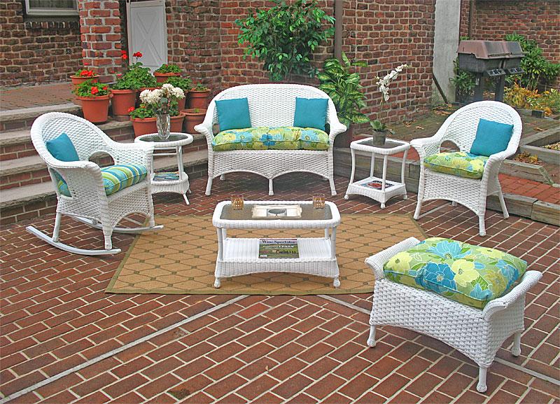 White High Back Veranda Outdoor Wicker Patio Furniture