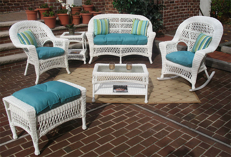 White Madrid Outdoor Wicker Patio Furniture