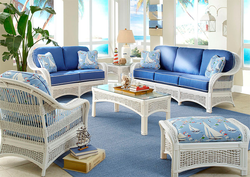 White Fiji Natural Rattan Wicker Furniture Sets
