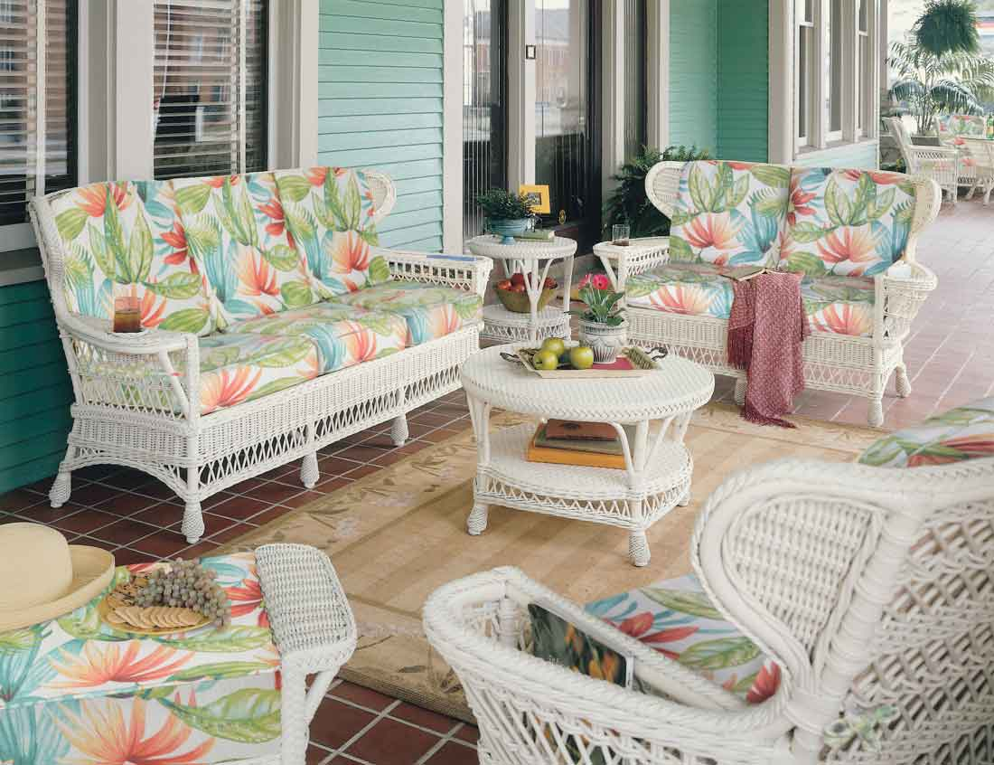 Wicker Vintage Rattan Framed Natural Wicker Furniture Sets Custom Painting Available