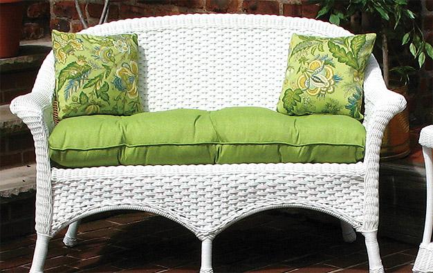 Sunbrella Fabric Wicker Loveseat Cushion