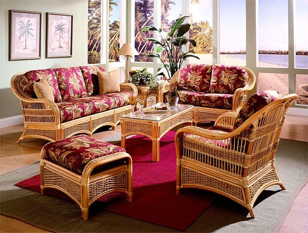 5 Piece Fiji Indoor Rattan Furniture, Wicker Furniture Indoor Set