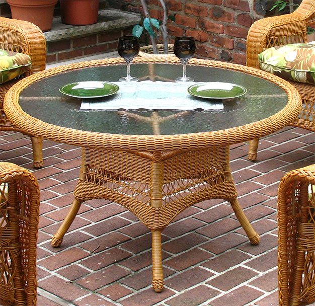 42 Quot Round X 24 Quot High Resin Wicker Conversation Table With
