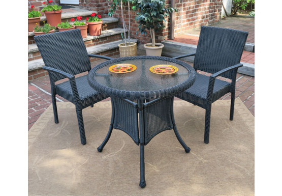 """Caribbean Resin Wicker Bistro Dining Set  30"""" (2-Arm Chairs) - BLACK"""