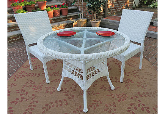 """Caribbean Resin Wicker Bistro Dining  Set 36"""" Round  (2-Side Chairs) - WHITE"""
