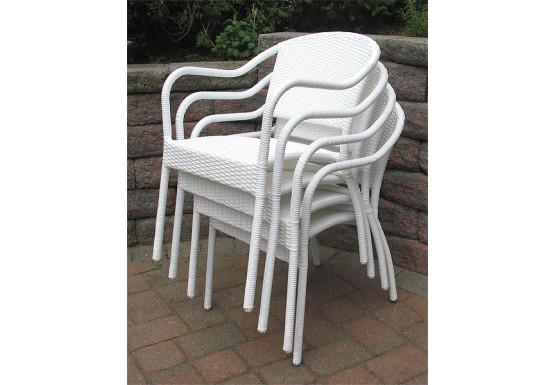 Resin Wicker Bistro Chair - WHITE STACK