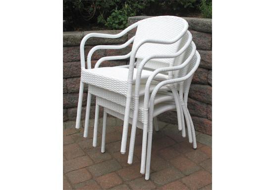 Resin Wicker Bistro Chair, Min 2 - WHITE STACK