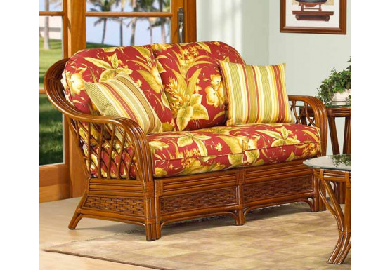 Coconut Beach Natural Rattan Loveseat  - MAHOGANY
