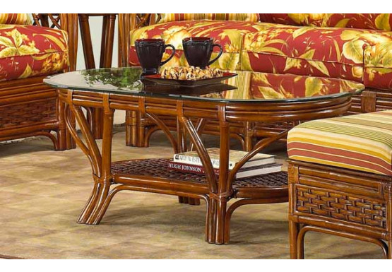 Coconut Beach Natural Rattan Oval Cocktail Table - MAHOGANY