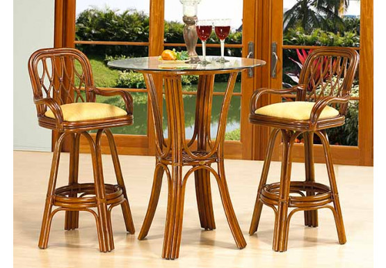 3 Piece Bar Height Rattan Dining Set, Coconut Beach  - MAHOGANY