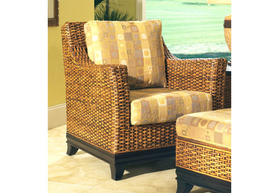 South Beach Rattan Lounge Chair  - ROYAL OAK AND ESPRESSO