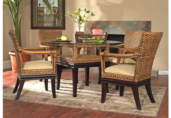 "5 Piece Rattan Dining Set South Beach 48"" Round -  ROYAL OAK AND ESPRESSO"