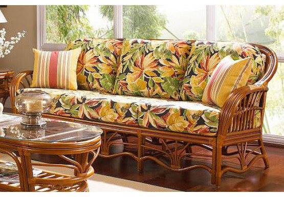 Tahiti Natural Rattan Sofa  - WALNUT