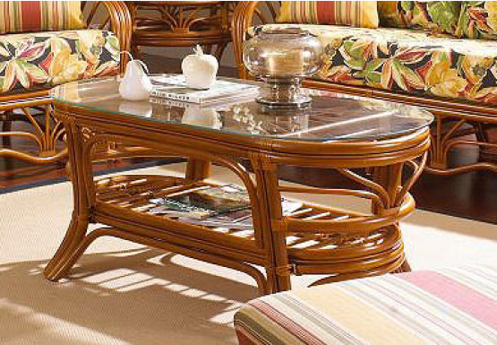 Tahiti Natural Rattan Oval Cocktail Table - WAlNUT