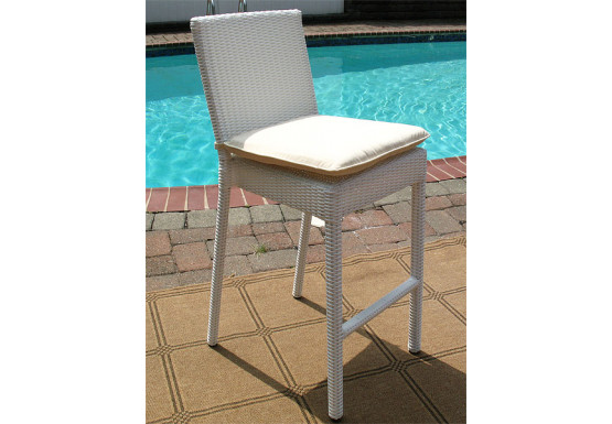 Caribbean Resin Wicker Bar Stools with Cushion $229.95 each (Min 4 SPECIAL) - WHITE
