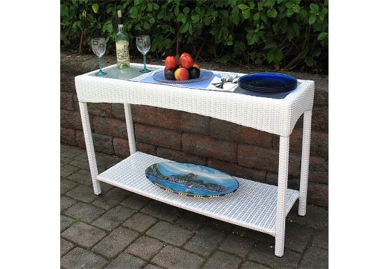 Resin Wicker Serving Console Table