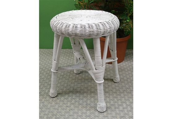 Round Wicker Utility Stool - WHITE