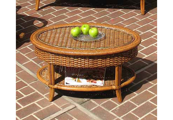 Tangiers Oval Wicker Cocktail Table with Glass Top - TEAWASH