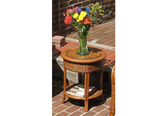 Tangiers Round Wicker End Table With Glass Top