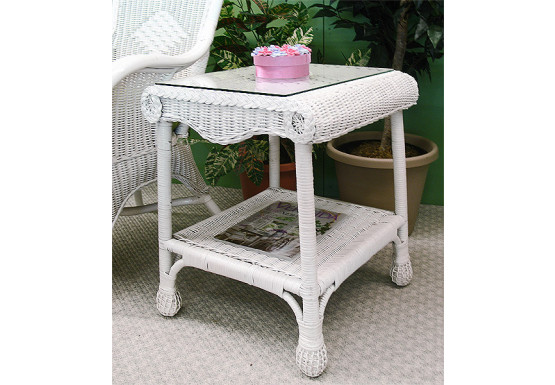 Natural Wicker Diamond End Table with Glass Top (2 colors) - WHITE