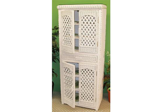 High Boy Lattice Wicker Cabinet - WHITE
