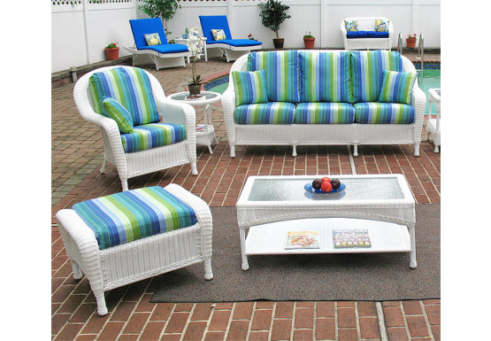 5 Piece Laguna Beach Resin Wicker Furniture Set with Sofa, Chair, Otto & 2 Tables - WHITE