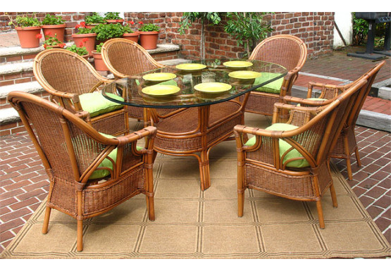 7 Piece Monterey Oval  Wicker Dining Set  - 7 Piece Monterey Oval  Wicker Dining Set