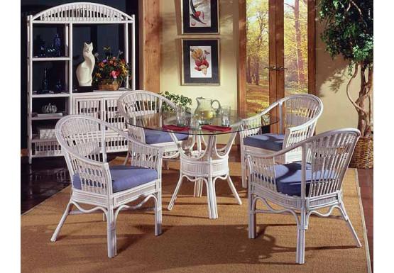 """5 Piece Bermuda Rattan Dining  Set 48"""" Round Glass - WHITEWASH"""