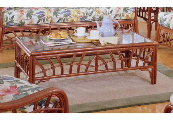New Kauai Rattan Cocktail Table  - PECAN