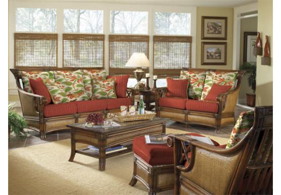 6 Piece Saint Helena  Rattan Furniture Set - WALNUT