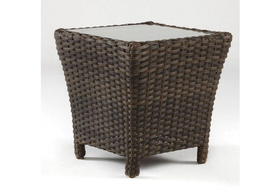 San Remo All Weather Wicker End Table  - CHARCOAL BROWN